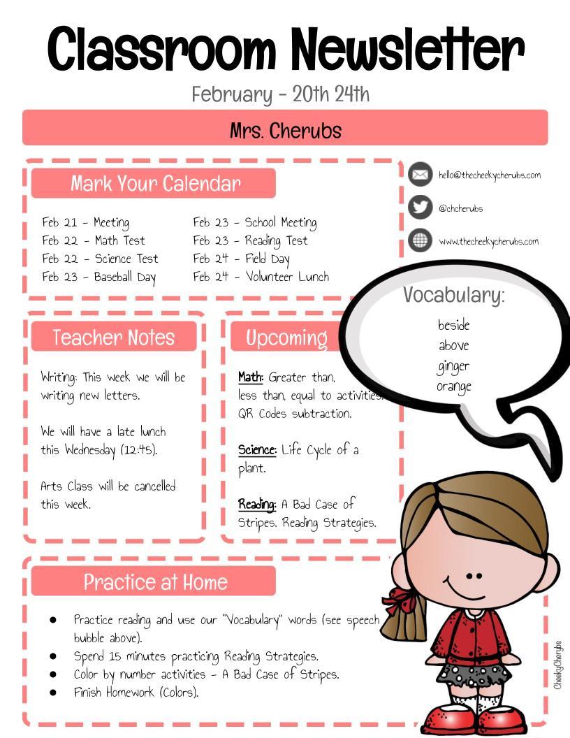 Clroon-Newsletter-4 Teaching Helper Clroom Newsletter Templates on